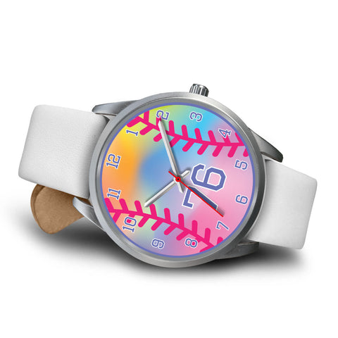 Image of Girl's rainbow softball watch -76