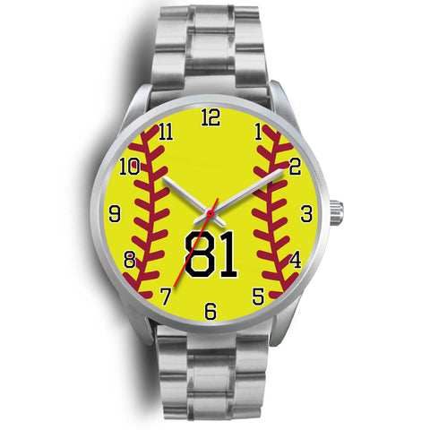 Image of Men's silver softball watch - 81
