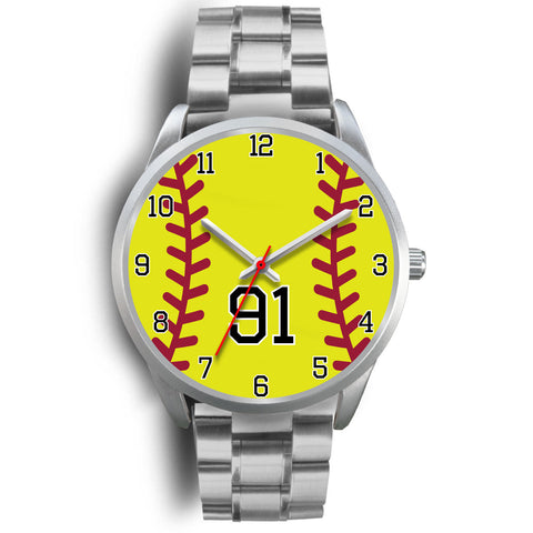 Men's silver softball watch - 91