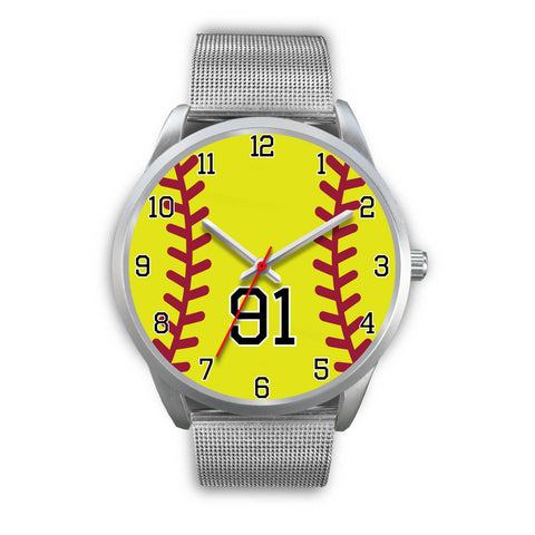 Image of Men's silver softball watch - 91