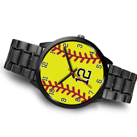 Image of Women's Black Softball Watch -12