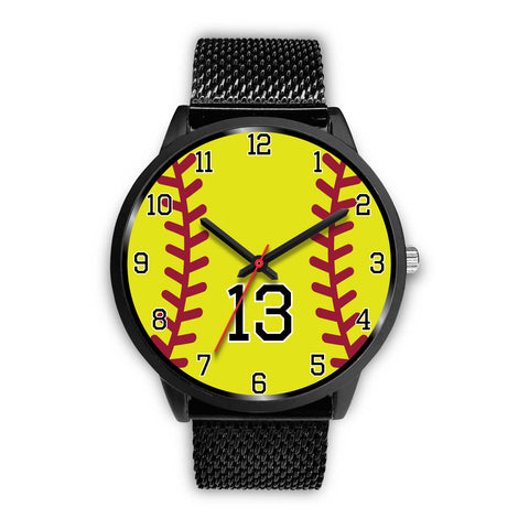 Image of Women's Black Softball Watch -13