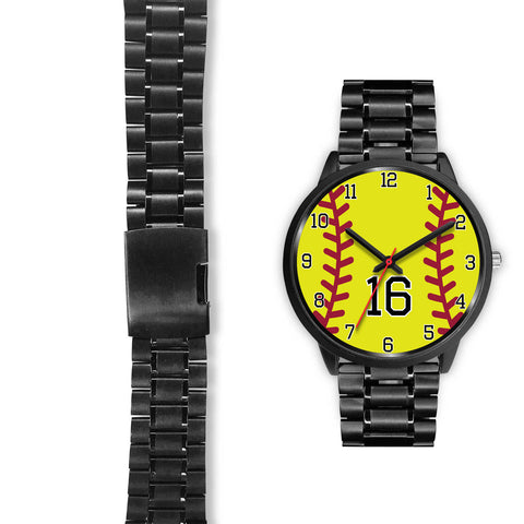 Image of Women's Black Softball Watch -16