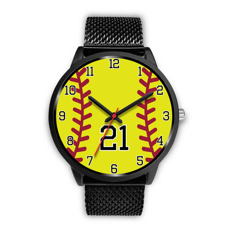 Image of Women's Black Softball Watch -21