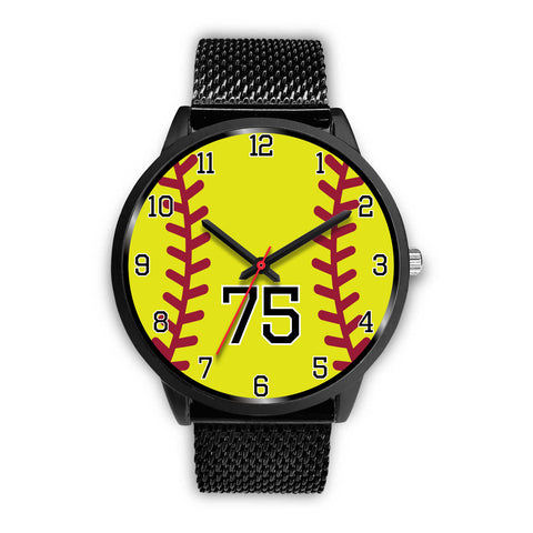 Image of Women's Black Softball Watch -75