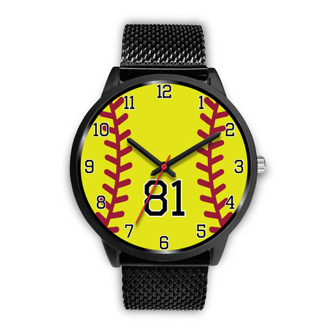Women's Black Softball Watch -81