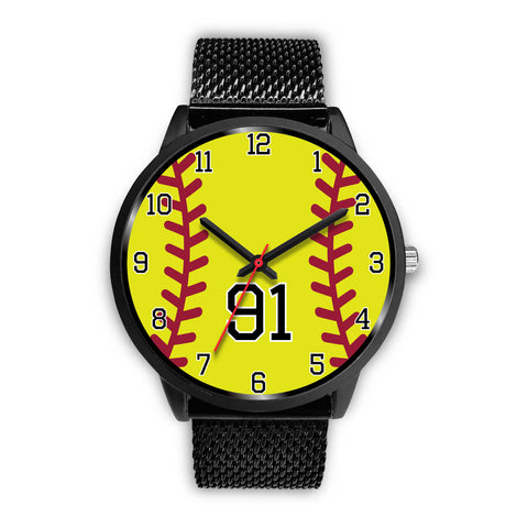 Women's Black Softball Watch -91
