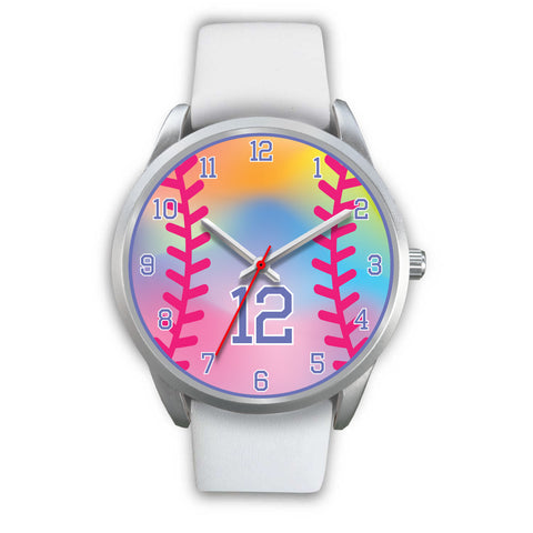 Girl's rainbow softball watch - 12