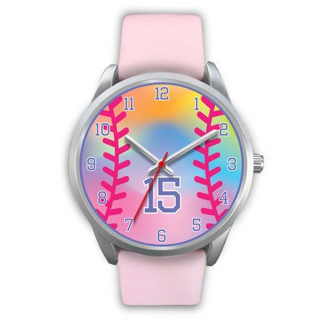 Image of Girl's rainbow softball watch - 15