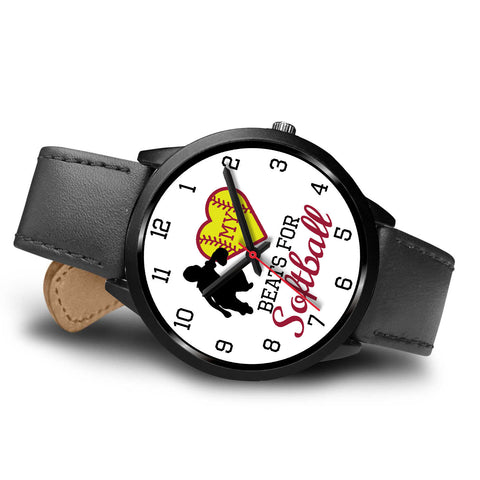 Image of My heart beats for softball girl's watch - Catcher