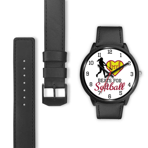 Image of My heart beats for softball girl's watch - Hitter