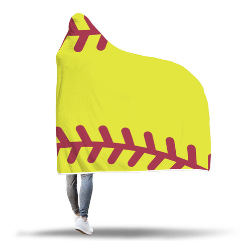 Image of softball hoodie blanket