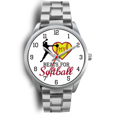 Image of My heart beats for softball men's watch - pitcher