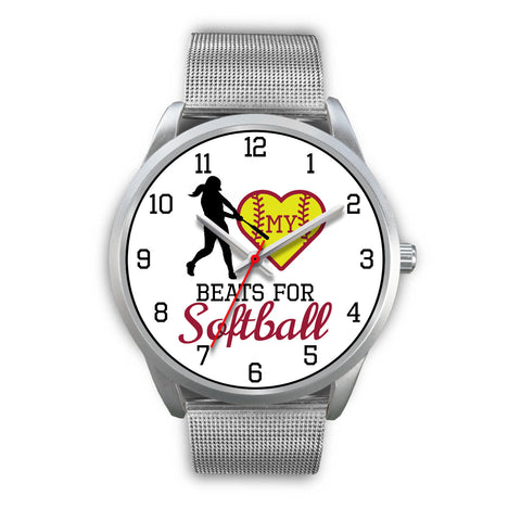 Image of My heart beats for softball women's watch - hitter