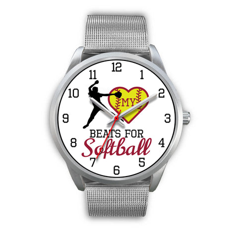 Image of My heart beats for softball women's watch - pitcher