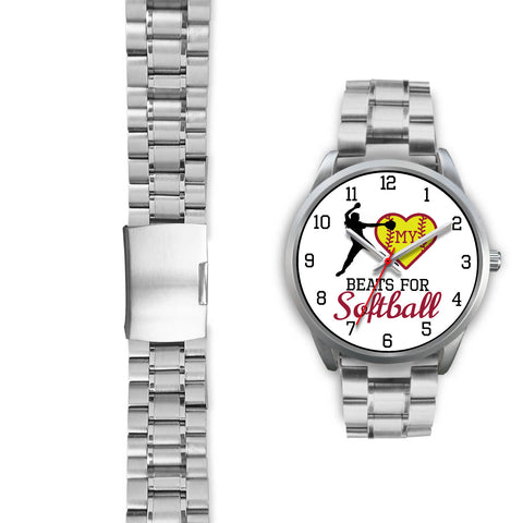 Image of My heart beats for softball girl's watch - pitcher