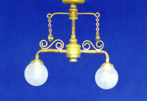 Double Light Ceiling Light - Antique Brass Finish