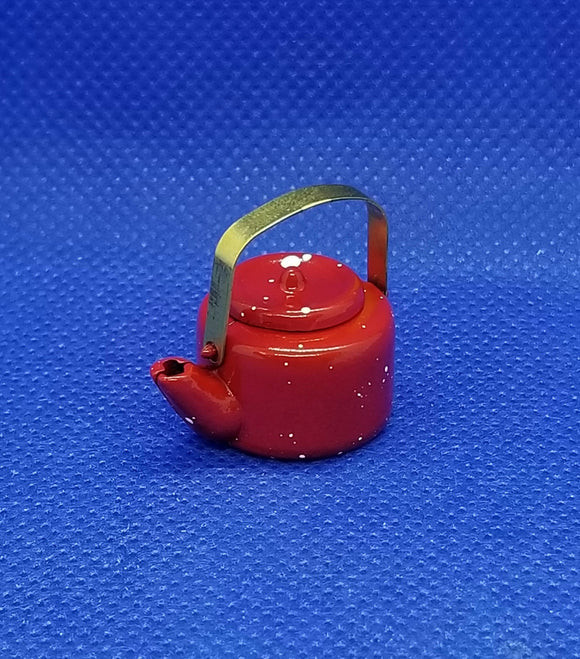 Red Spatterware Tea Kettle