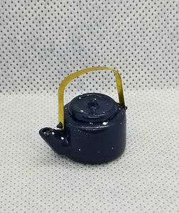 Blue Spatterware Tea Kettle