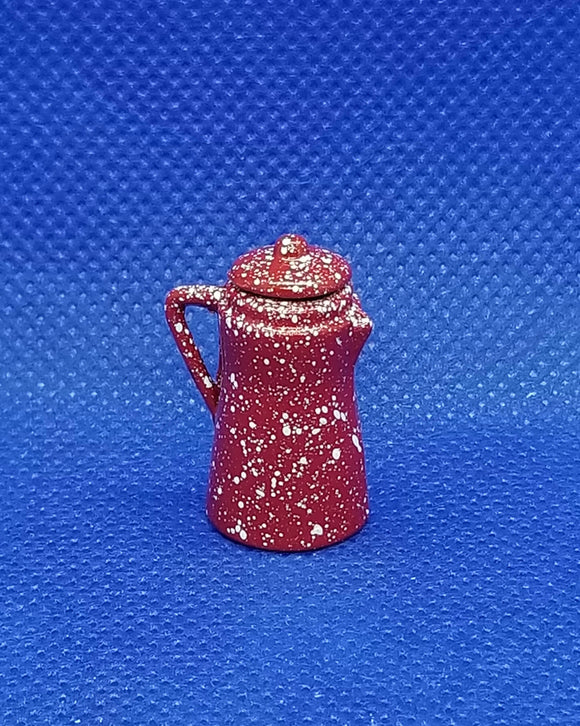 Red Spatterware Coffee Pot