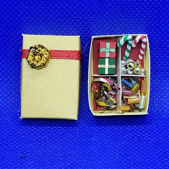 1/12 Scale Miniature Box of Christmas Decorations