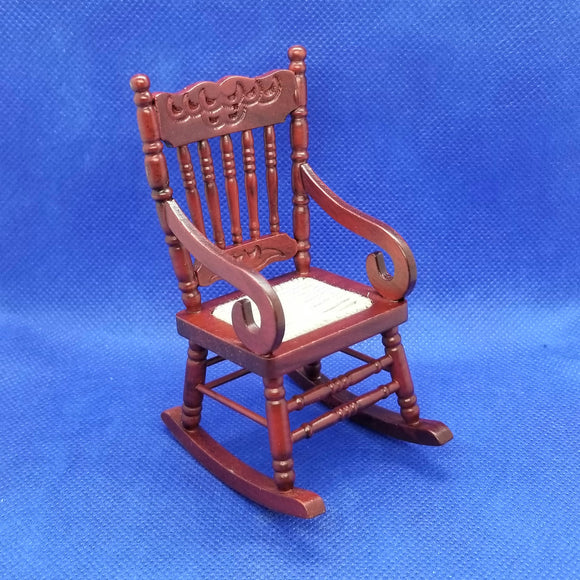 1/12 Scale Mahogany Gloucester Rocking Chair - Dollhouse Miniature Freedom Miniatures
