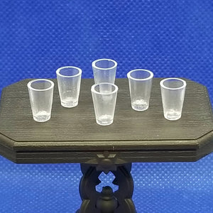 Set of 6 Beverage Glasses - Dollhouse Miniature