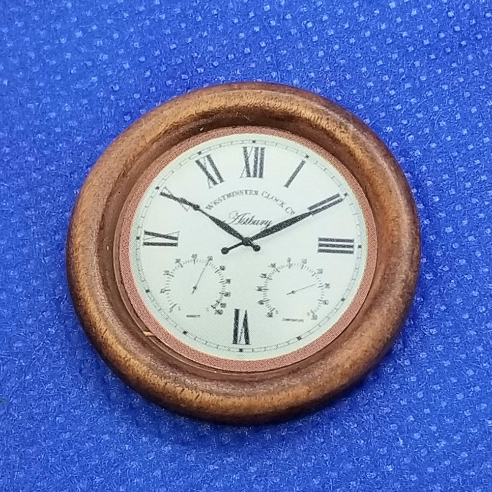 1/12 Scale Miniature Wooden Wall Clock - Non-Working - Dollhouse Freedom Miniatures