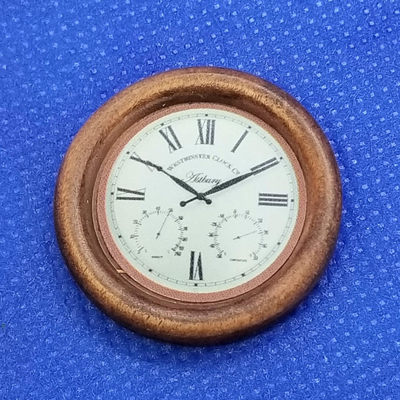 1/12 Scale Miniature Wooden Wall Clock - Non-Working - Dollhouse