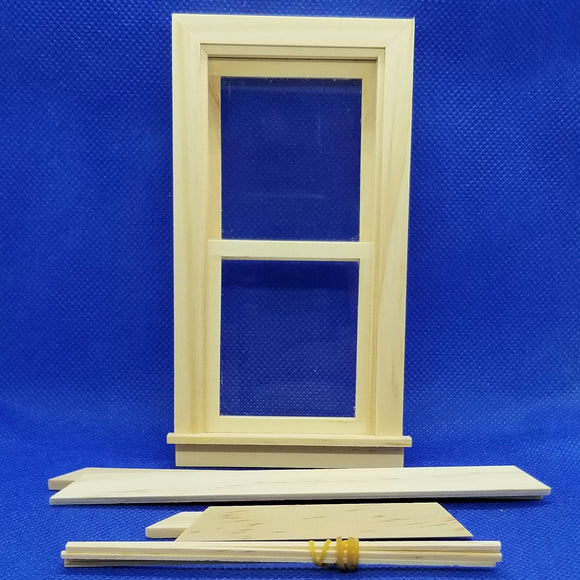 Traditional Working Double Hung Window - 1/12 Scale - Miniature Dollhouse