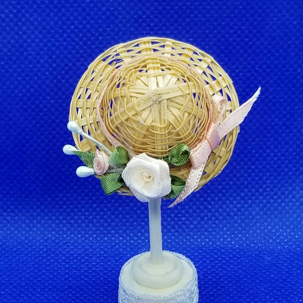 1/12 Scale Hat - Woven Straw Hat with Peach Ribbon Hat Band and Matching Roses Back View Freedom Miniatures