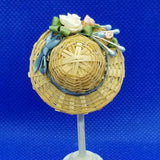 1/12 Scale Hat - Woven Straw Hat with Teal Ribbon Hat Band and Coordinating Roses Back View Freedom miniatures
