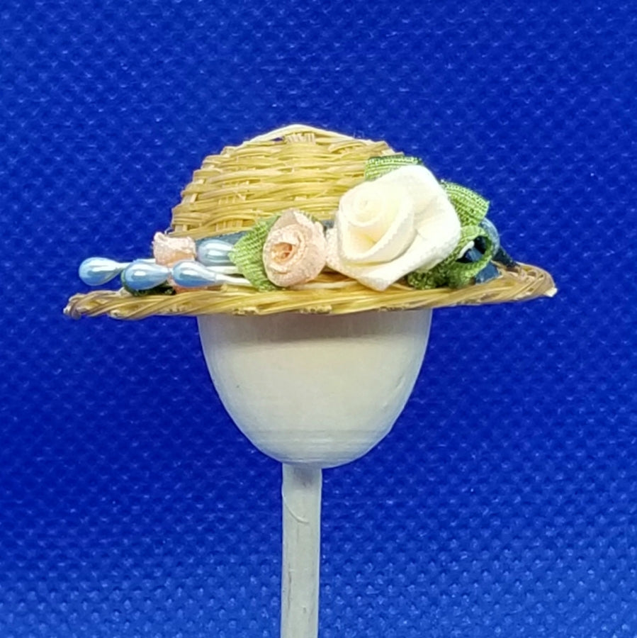 1/12 Scale Hat - Woven Straw Hat with Teal Ribbon Hat Band and Coordinating Roses Front View Freedom Miniatures