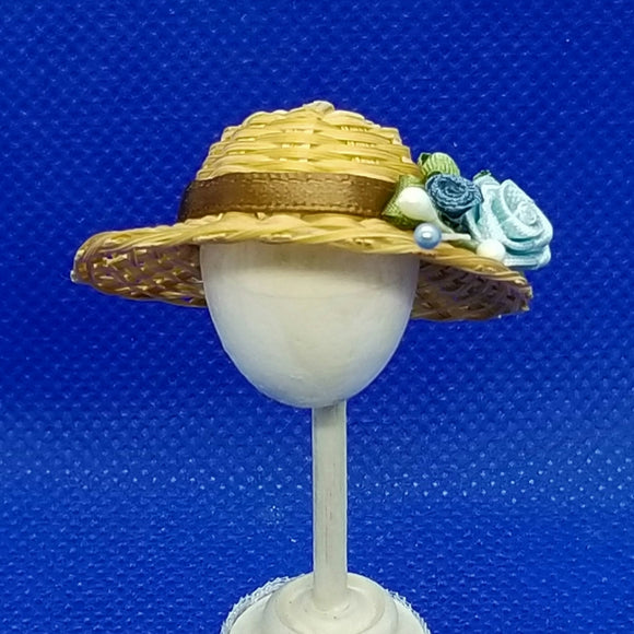 1/12 Scale Hat - Woven Straw Hat with Brown Hat Band and Blue Roses