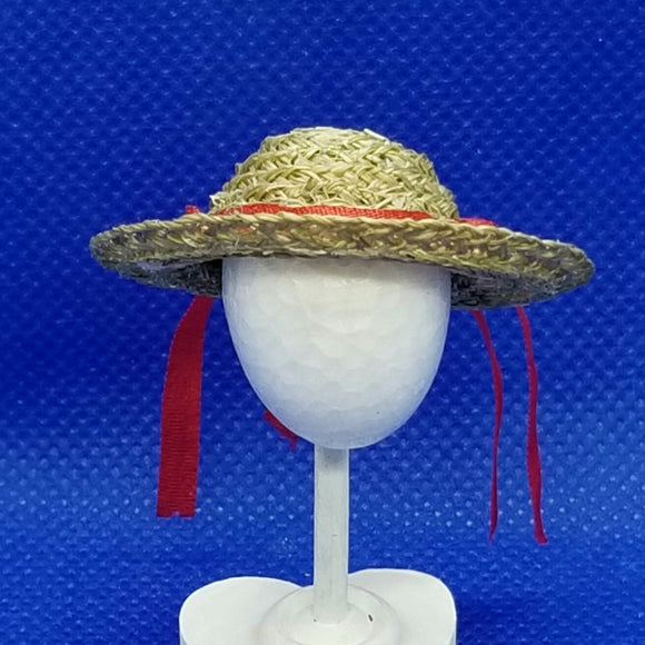 1/12 Scale Hat - Straw Hat with Red Ribbon and White Rose Front View Freedom Miniatures
