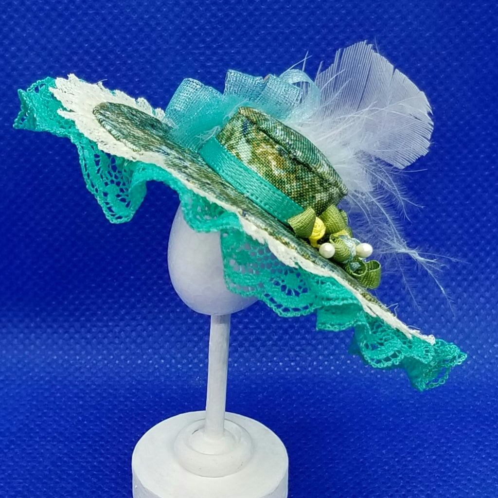 1/12 Scale Hat - Grand Derby Hat with Lace Trim, Feathers and Floral Fabric Freedom Miniatures