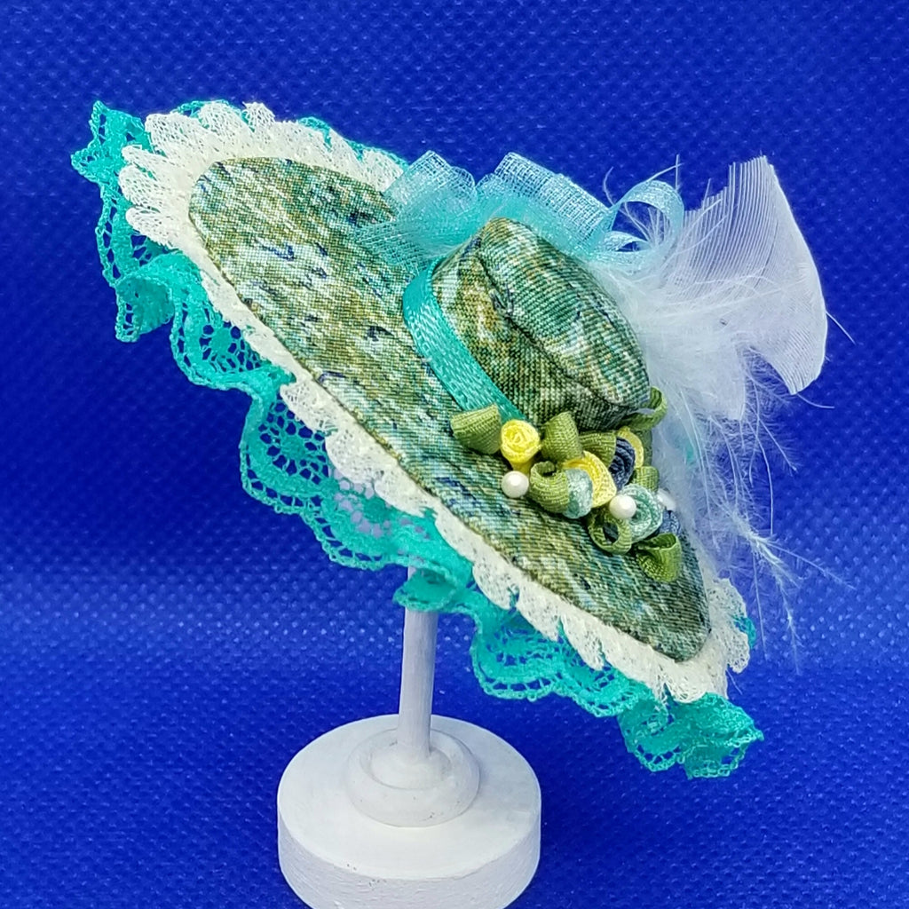 1/12 Scale Hat - Grand Derby Hat with Lace Trim, Feathers and Floral Fabric Freedom Miniatures Side View