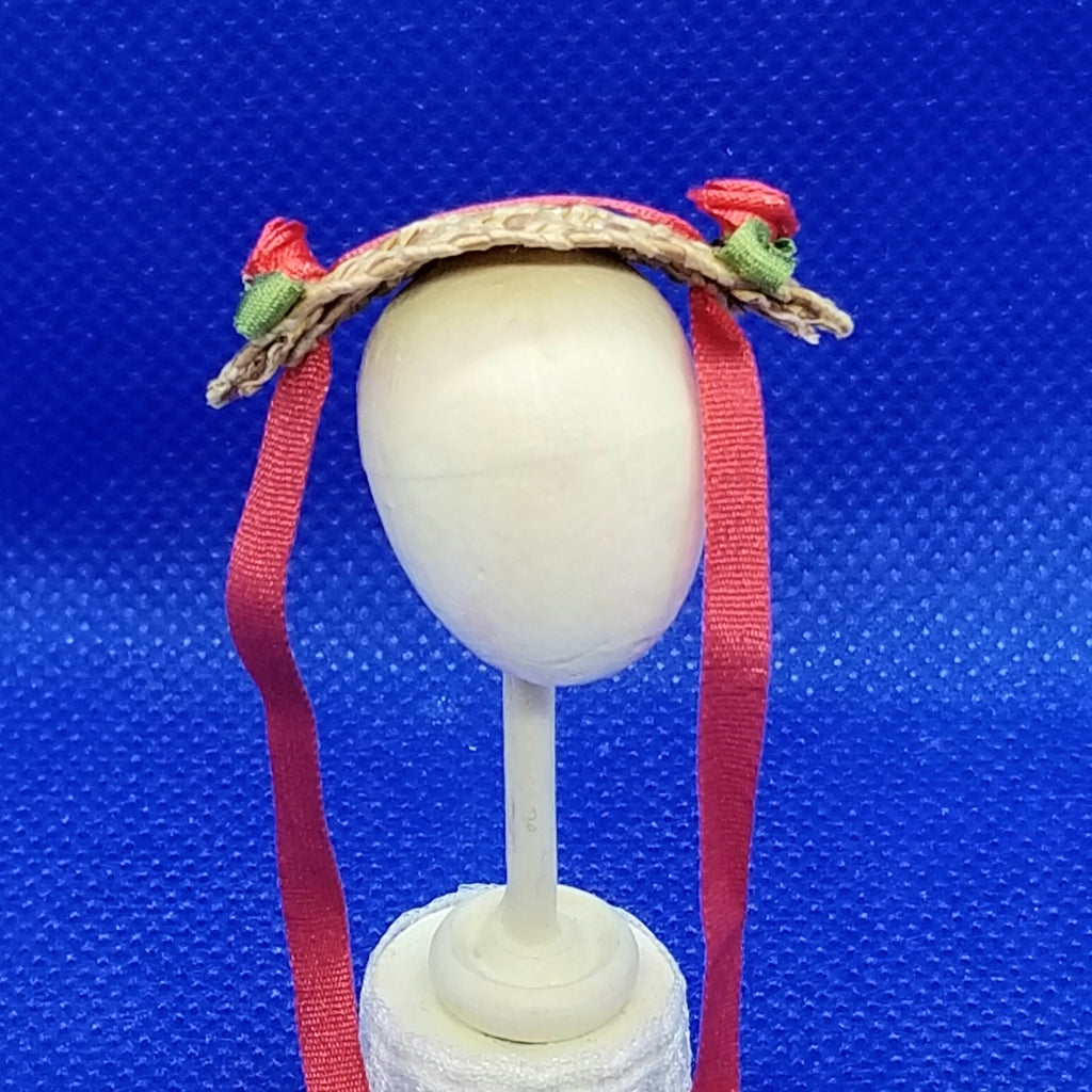 1/12 Scale Hat - Miniature Bonnet with Red Ribbons Freedom Miniatures Front View