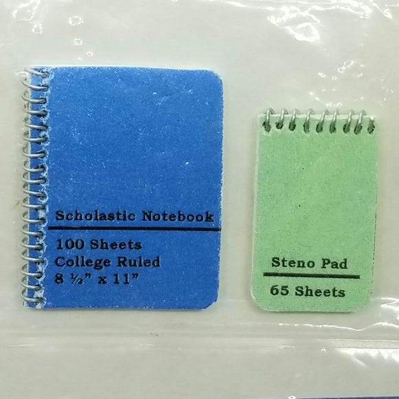 1/12 Scale Spiral Notebooks - Set of 2 - Dollhouse Miniature