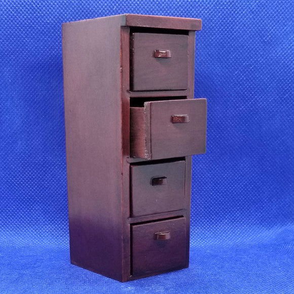 4-Drawer Mahogany Filing Cabinet - 1/12 Scale - Dollhouse Miniature