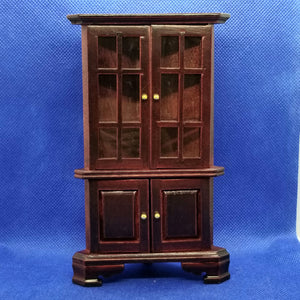 1/12 Scale Mahogany Corner Hutch - Dollhouse Miniature