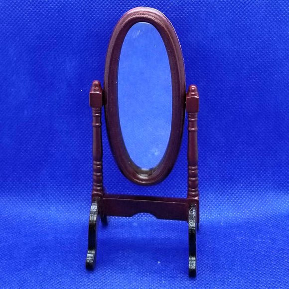 1/12 Scale Mahogany Cheval Mirror - Dollhouse Miniature