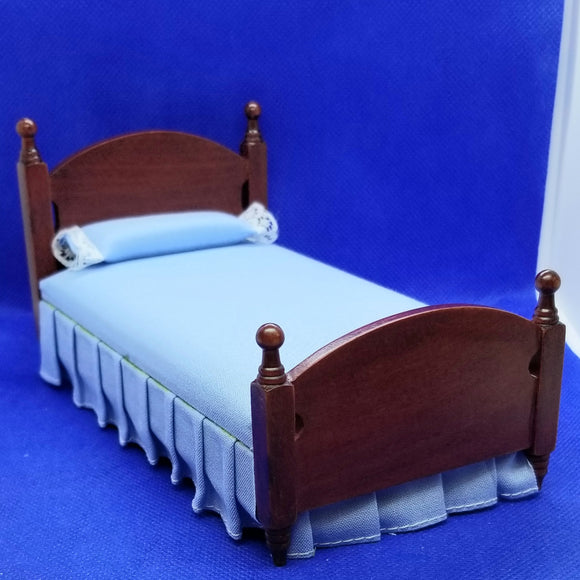 Single Bed - Blue Bedcovers - Mahogany Frame - 1/12 Scale Dollhouse Miniature