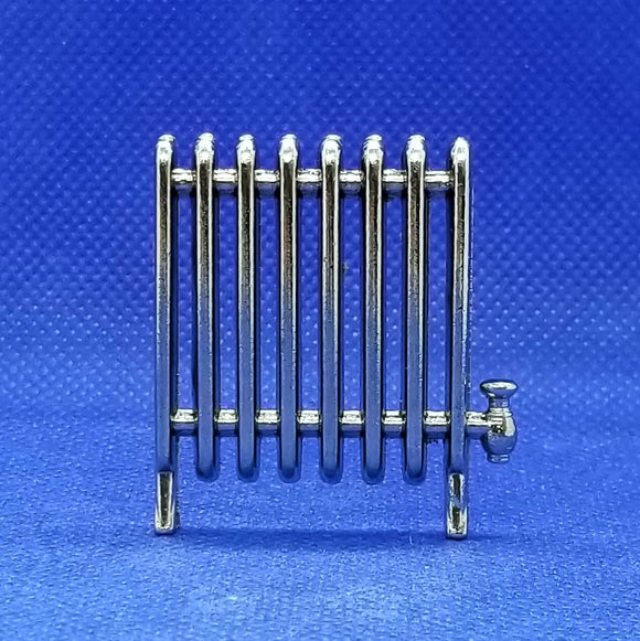Miniature Radiator - 1/12 Scale - Silver Metal - Dollhouse