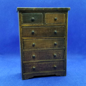 Chest of Drawers - Walnut - 1/12 Scale Dollhouse Miniature