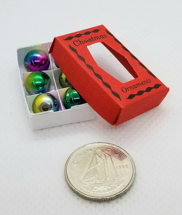 Miniature Christmas Ornaments - Red Box