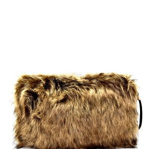 Kimberly Faux Fur Cross Body Clutch - 5 Colors