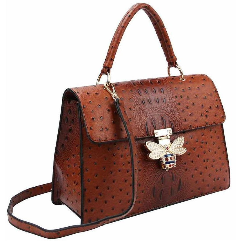 Stylish Buckled Satchel With Matching Wallet