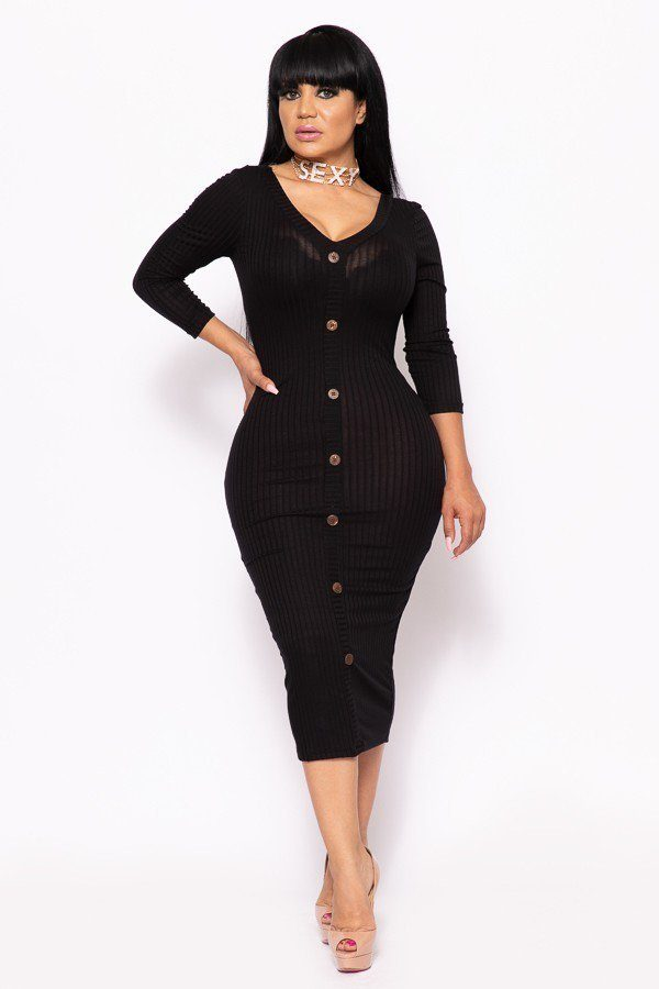 Button Me Up Ribbed Midi Dress - 4 Colors