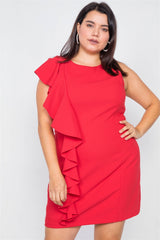 Ruffle My Feathers Soirée Dress - Ruby
